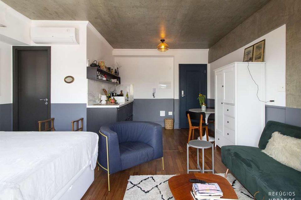 Studio no Arouche, com 33m2, pronto para morar ou investir, equipado e com opção mobiliado em prédio com academia, salão de festas e piscina nas alturas.
