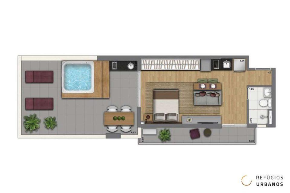 Apartamento de 67m2 com super área externa em prédio novinho, em uma ótima localização, perto da Consolação e da Avenida Paulista.