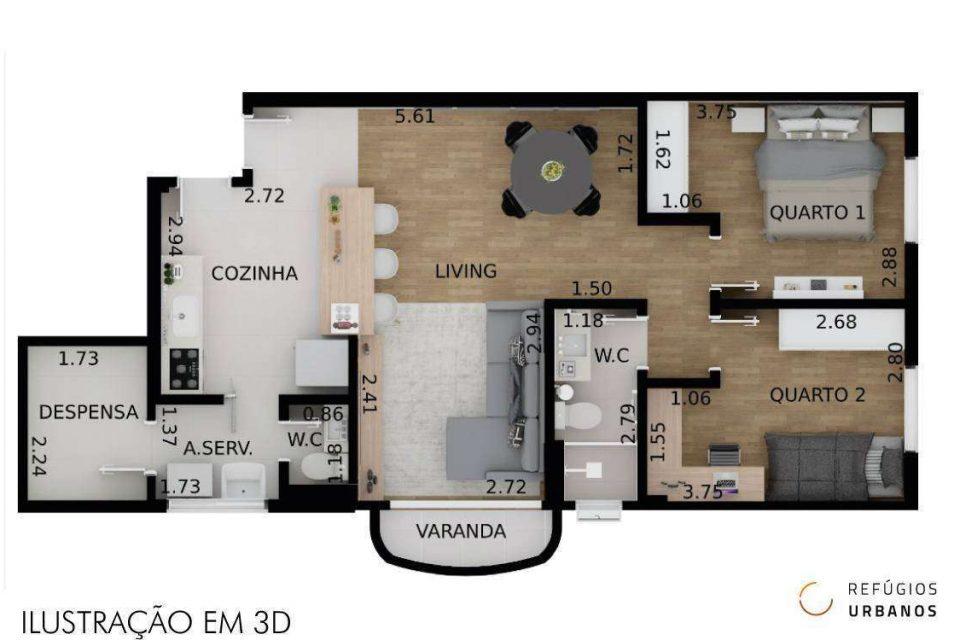 Apartamento de 71m² com 2 dormitórios, varanda e vaga de garagem em prédio com lazer na Alves Guimarães, quadra próxima à Sumaré