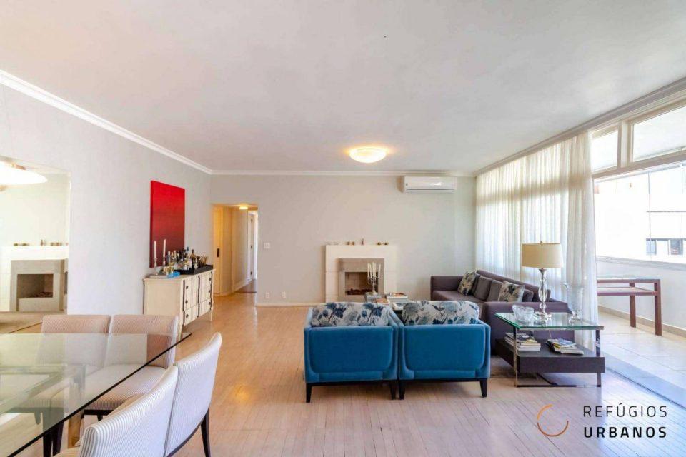 Apartamento em Higienopolis com 196m2, reformado, com varanda, 3 quartos, sendo 1 suíte e duas vagas no melhor da rua Pará.