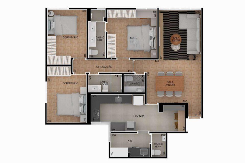 Apartamento em Higienopolis, perto do Parque Buenos Aires, totalmente reformado, com 107m2, 3 dormitórios, sendo 1 suite, e 1 vaga.