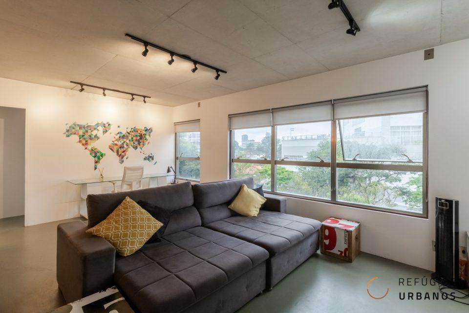Apartamento MaxHaus Brooklin com 70m2, estilo industrial, 1 quarto, ar condicionado, uma vaga. Infra e lazer completo.