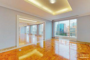 Apartamento de 346m² na Bela vista, com três dormitórios, sendo uma suíte, amplas janelas e sacadas em um living room generoso.